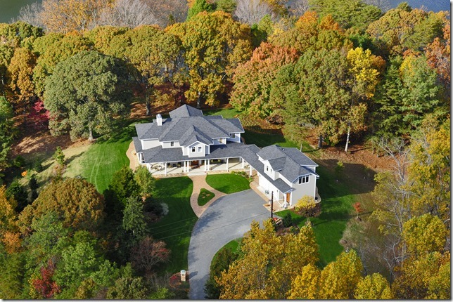 Aerial of custom waterfront home